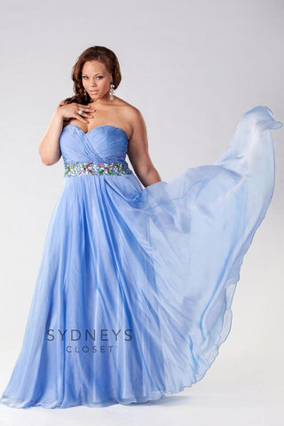 Sydneys Closet SC7129 Blue Mist size 32 Prom Dress Pageant Gown In Stock