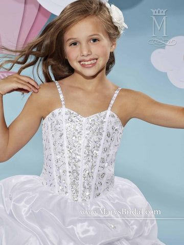 Mary's Bridal 508 White size 6 Corset Bodice ballgown Flower Girl Dress Communion