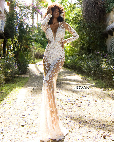 Jovani Couture S59005 Long Sheer Fitted Dress Formal Gown Sexy Beaded Long Sleeve Glass Slipper Formals 59005