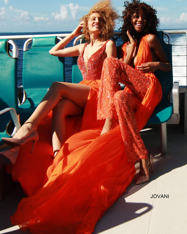 Jovani Couture S60483 Long Embellished Pageant Dress Red Carpet Gown Train 60483 Glass Slipper Formals Chiffon Skirt