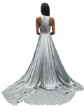 Jovani Couture S68289 Long Silk Dress Silver Ballgown Red Carpet Gown Glass Slipper Formals 68289