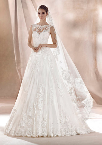 White One Bridal SARA Long Lace Ballgown Sheer High Neck Wedding Dress Sleeveless