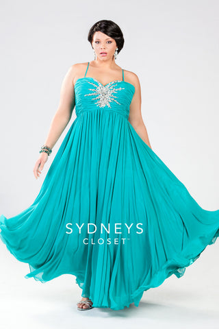 1e294b29dd1 Sydneys Closet style 7071 Starburst Formal Gown Aqua size 30
