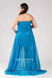 Sydneys Closet style 7112 above-the-knee sequined skirt is surrounded by flowing chiffon Blue sz 22