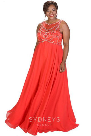ebd45256504 Sydneys Closet SC7212 Follow me long formal prom gown in Red size 24