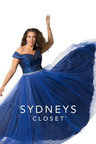 Sydney's Closet 7240 off the shoulder prom dress size 14 royal/black evening gown