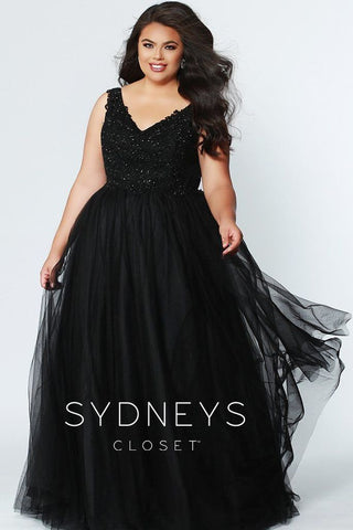 Sydney's Closet 7248 embroidered lace plus size prom dress