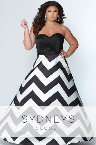 Sydneys Closet 7264 Black and White Sizes 14-32 strapless prom dress