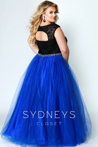 Sydneys Closet 7269 Berry Sizes 14-40, lace top with cutout back plus size prom dress evening gown tulle ballgown long formal dress.