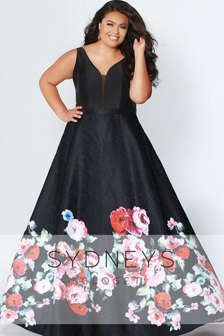 Sydney's Closet 7274 Black Floral Size 20 and 30 Prom Dress Pageant Gown