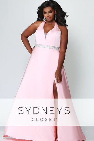 Sydneys Closet 7278 Black and Petal Pink Sizes 14-32 Sleeveless prom dress