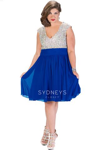 Sydneys Closet 8081 Size 14 Crystal V Neck short dress tea length Royal
