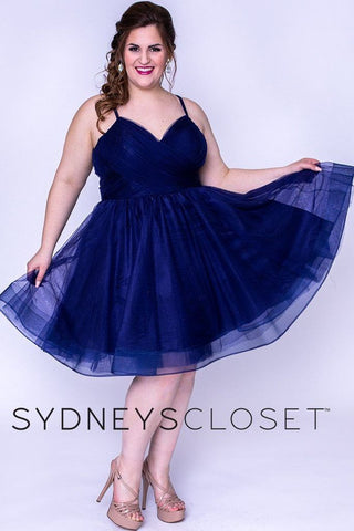 Sydney's Closet SC8094 is a short fit & Flare Tulle Party Dress. Featuring a pleated tulle fitted V neckline bodice with spaghetti straps. A Line flared tulle skirt with horse hair trim. Great for Homecoming, Formals, Prom & So many more events!
