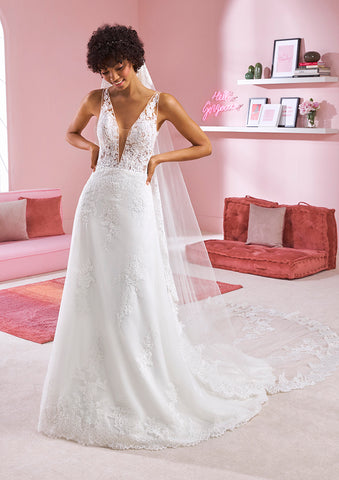 White One Bridal SELENA Pronovias Wedding Dress Sheer Lace Illusion Gown