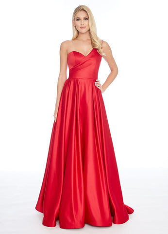 Ashley Lauren 1783 one shoulder A line satin ball gown prom dress