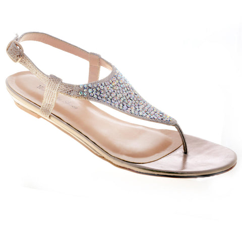 Your Party Shoes Summer Crystal Embellished Metallic Flat Thong Sandals Prom