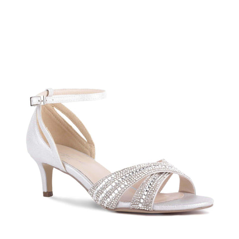 Paradox London Pink SABRINA Benjamin Walk. Sabrina is an elegant open toe jewled vamp sandal with a 2 inch heel that features a soft shimmer material and synthetic sole. Available Sizes: 5, 6, 6.5, 7, 7.5, 8, 8.5, 9, 9.5, 10, 11  COMPANY: Paradox London BRAND: Paradox London COLOR: Silver MATERIAL: Shimmer Print Crystal Rhinestones