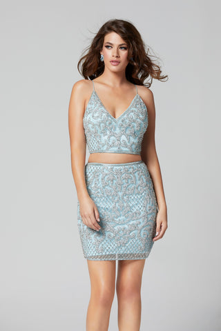 89bd00563 ... Primavera Couture 3321 two piece beaded homecoming dress ...