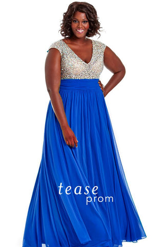 Tease Prom 1602 Royal Blue Plus size prom dress size 22, 26