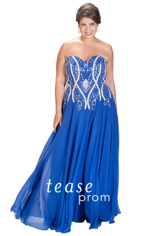 Tease Prom by Sydneys Closet TE1703 size 32 Blue Prom Dress Pageant Gown