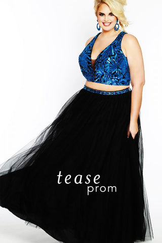 Tease Prom 1833 size 22 Blue/Black two piece Prom Dress Pageant Gown