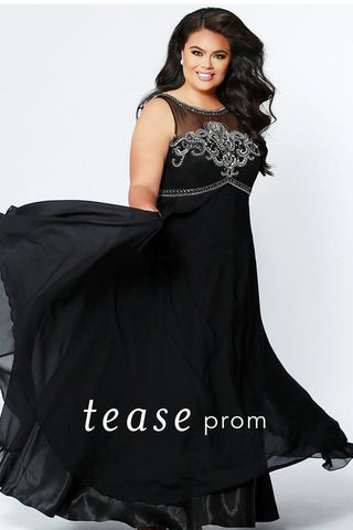 Tease Prom By Sydney's Closet 1931 Black Silver Size 26 Prom Dress Pageant Gown