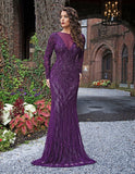 Primavera Couture 3192 Long Evening Gown long sleeve beaded fitted