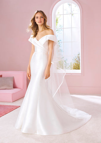 White One TINA Bridal Pronovias Wedding Dress Mikado Mermaid Off Shoulder Sleeve