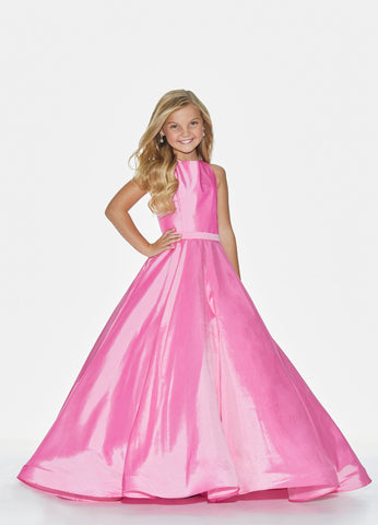 Ashley Lauren 8060 Crew neck girls and preteen's pageant dress ball gown accented with a tonal belt giving way to full skirt with long train. The skirt is finished with horsehair.  Colors  Pink, Purple, Orange, Jade  Sizes  2, 4, 6, 8, 10, 12, 14, 16  Crew Neckline Tonal Belt Horsehair Train Taffeta