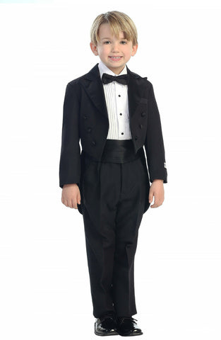 Boys 5 Piece Peak Collar Tailed Tuxedo Set - Choose Color & Size 4001