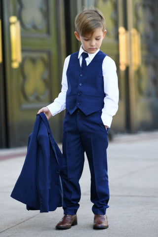 INK BLUE Boys Slim Fit Tuxedo Set Complete with Pants, Shirt, Vest, Long Tie & Jacket