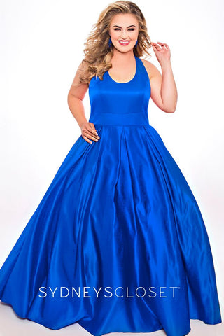 Sydneys Closet SC7293 scoop neckline open back A line satin plus sized prom dress long formal evening gown with pockets