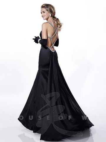 Tiffany 46807 Prom Dress Black size 8 Pageant Gown Long Crystal Strap Satin