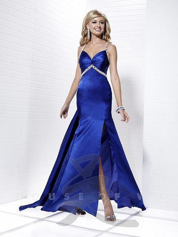 Tiffany Exclusive Prom Dress 46834 Royal Size 10 Pageant Gown Satin Crystal Strap