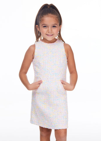 Ashley Lauren 8038 Girls short tweed dress with pearl lined high neckline and pearl lined pockets. Great fun fashion for your next pageant or for your next tea party. Colors Ivory  Sizes  4, 6, 8, 10, 12, 14, 16