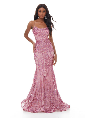 Ashley Lauren 11016 This spaghetti strap sequin prom dress with lace up back is perfect for your next event. The sequins are sure to accentuate your figure and the skirt is finished with horsehair.  Colors Royal, Rose, Purple  Sizes   0, 2, 4, 6, 8, 10, 12, 14, 16, 18, 20, 22, 24  Spaghetti Straps Mermaid Skirt Lace Up Back Sequin
