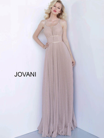 Jovani 2084 Criss Cross back pleated evening gown