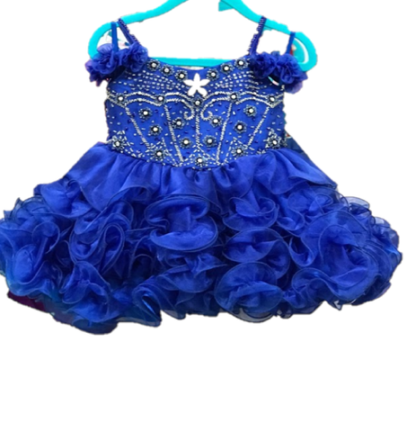 Little Rosie BR1019 Size 12 Months Baby Cupcake Pageant Dress ruffle ROYAL BLUE