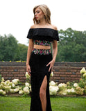 Primavera Couture 3215 Black, Ivory, Rouge beaded boho prom dress evening gown