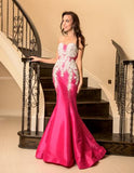 Vienna 8059 Size 10 Fuchsia Pageant Gown Mermaid Prom Dress Crystal Embellished