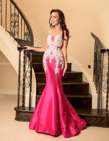 Vienna 8059 in Fuchsia size 10 prom dress pageant gown