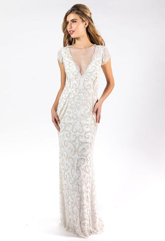 Primavera Couture 3190 Nude beaded evening gown