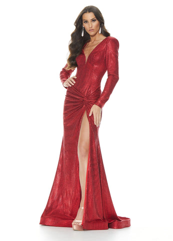 Ashley Lauren 11010 Long Sleeve Jersey Prom Dress with Twist Knot