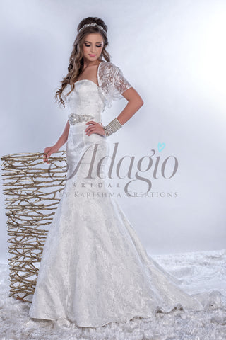 Adagio Bridal W9149 strapless sweetheart neckline long fit and flare lace wedding dress bridal gown with bolero jacket and crystal belt attached to waist with a train category wedding dresses bridal gowns destination bridal gowns white