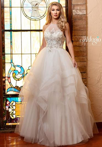 Adagio Bridal W9311 high neckline layered tulle bridal gown