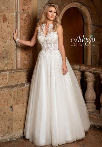 Adagio Bridal W 9312 Sheer Bodice Crystal Wedding Dress High Neck Ballgown