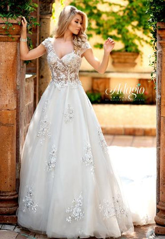 Adagio Bridal W9313 sheer lace bodice cap sleeves bridal gown