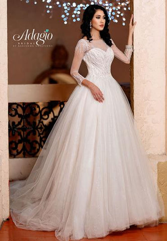 Adagio Bridal W9314 beaded shimmer tulle bridal gown