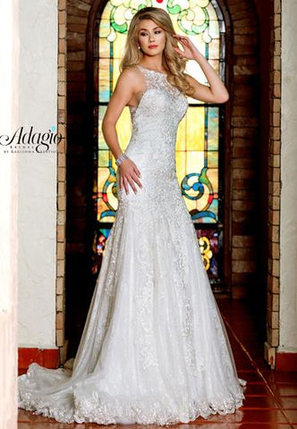 Adagio Bridal W9315 lace fit and flare bridal gown