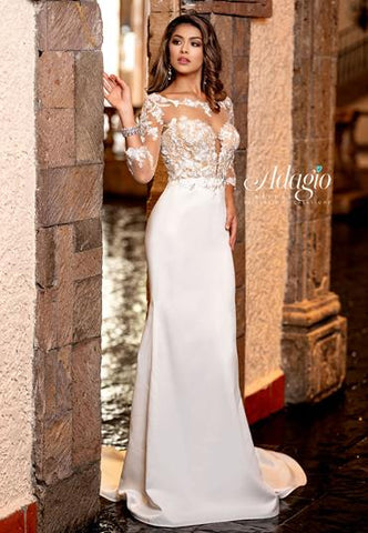 Adagio Bridal W9316 Fitted Lace And Matte Satin Bridal Gown